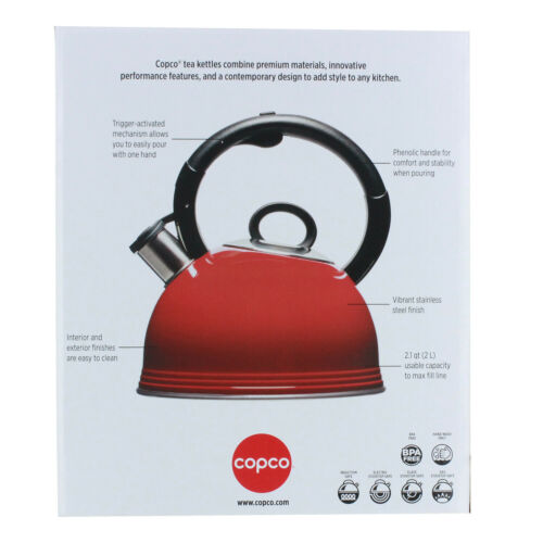 Copco 2.1 Qt Whistling Stainless Steel Tea Kettle with BPA Free Handle Gloss Red