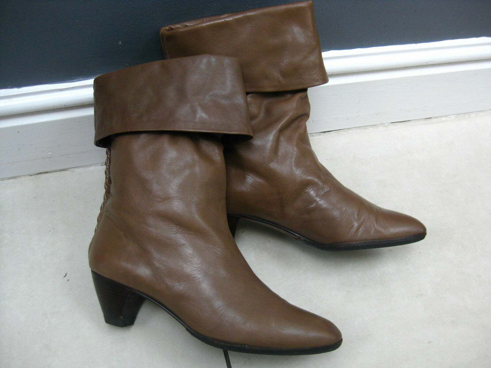Ladies LAURO RIGHI brown leather VINTAGE retro ANKLE BOOTS size pixie