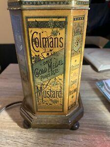 vintage COLMANS mustard large tin lamp
