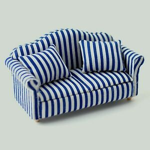 Image Is Loading Blue Amp White Striped Sofa Dolls House Miniature