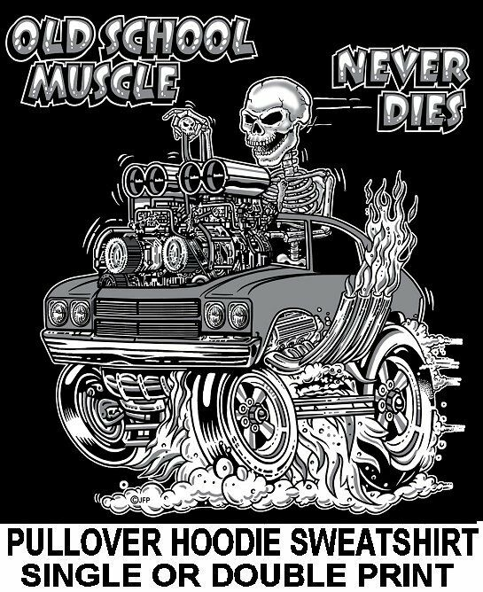 1970 OLD SCHOOL MUSCLE HOT ROD DRAG RACE BLOWER CAR SKULL HOODIE SWEATSHIRT OM14