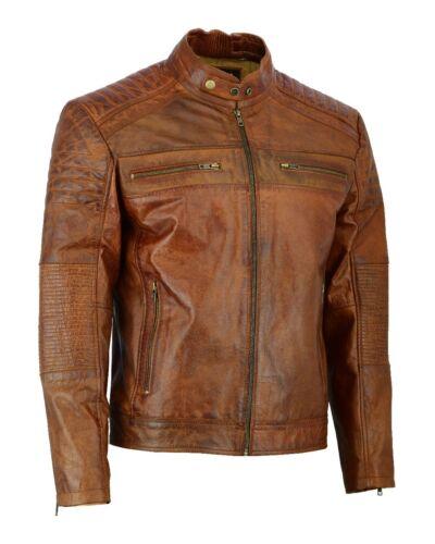 MENS Vintage Cafe Racer Distressed BROWN Genuine Leather Biker Slim Fit Jacket