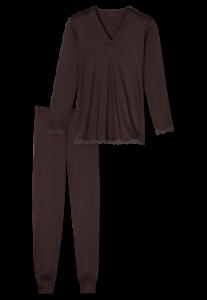 158821 Schiesser Damen Pyjama lang dunkelbraun