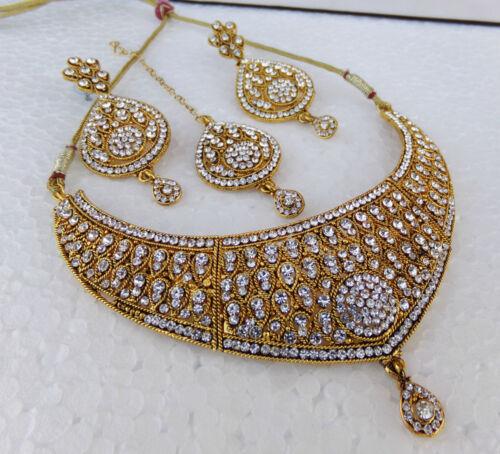 Ethnic Golden Kundan Necklace Earrings Indian Bollywood Jewelry Bridal Tikka Set