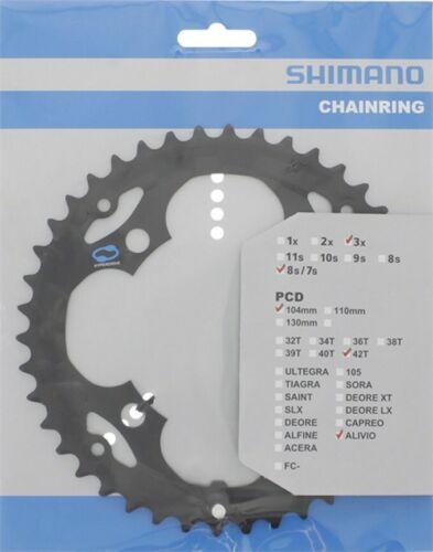 42 teeth Shimano Chainring ALIVIO FC-M415 104 mm black