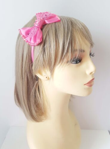 Beautiful hot pink bow headband aliceband with pretty rhinestone detail