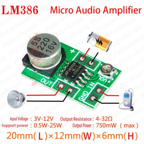 Mini LM386 Audio Power Amplifier Board 3V~12V Adjustable volume 250mW
