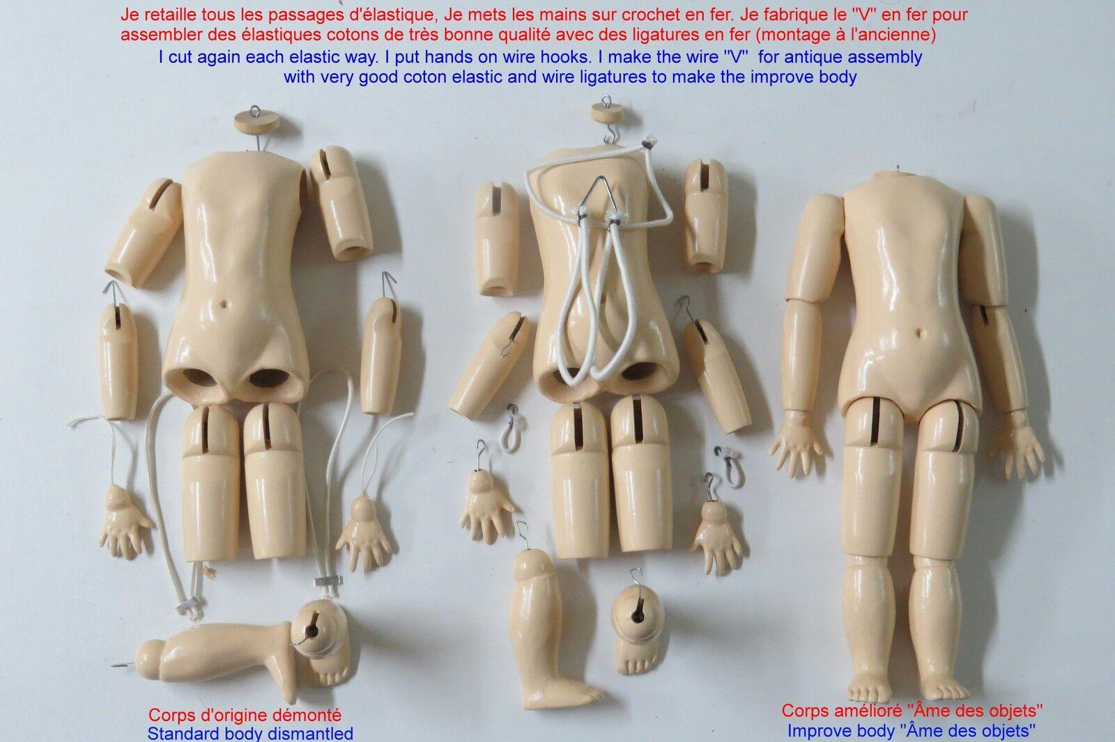 Cuerpo 48 cm de muñeca antigua de madera reproducción antiguo