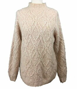 Pale-shell-pink-mohair-blend-jumper-10-12-Cable-South-Lodge-Hand-crafted-vintage