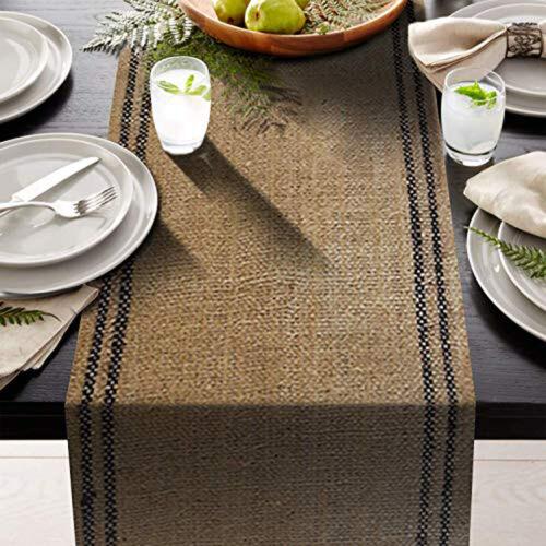 "12/"" x 108/"" Burlap Table Runner Rustic fringe drop edges 2 black stripe inlay"
