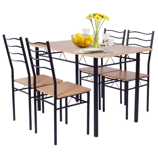 Wood Metal Dining Set 5 Piece Table Chairs Kitchen Room Breakfast Home Furniture For Sale Online Ebay