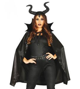 Detalles Acerca De Disfraz De Halloween Senoras Vestido De Fantasia Malefica Negro Bruja Cape Horns Nuevo Mostrar Titulo Original
