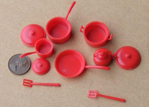 Escala 1:12 rojo plástico Utensilios de Cocina Set tumdee Accesorio de cocina de casa de muñecas