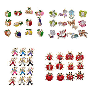 12x-Resin-Crystal-Rhinestone-Flower-Pin-Brooch-Women-039-s-Wedding-Party-Brooch