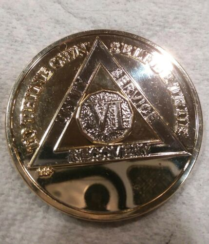 6 YEAR AA GOLD//SILVER Tone Bi-Plated Alcoholics Anonymous CHIP COIN MEDALLION