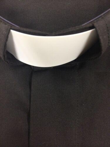 Men/'s Preacher Tab Collar Clergy Shirt Black 22 1//2 36-37