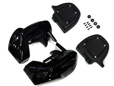 Vivid Black Lower Vented Leg Fairings For Harley Touring Road King Electra Glide