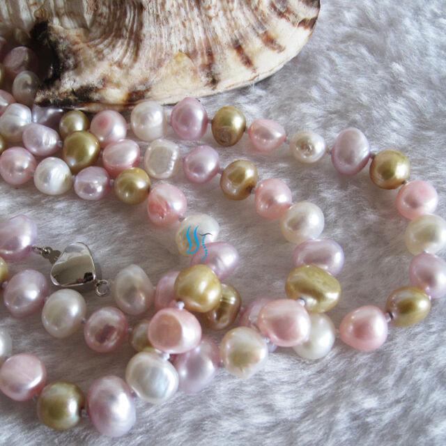 "58"" 7-9mm Multi Color Baroque Freshwater Pearl Necklace M1"
