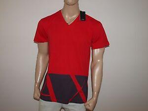 Armani-Exchange-Authentic-AX-Hem-Print-Oversized-V-Neck-T-Shirt-Cardinal-Red-NWT