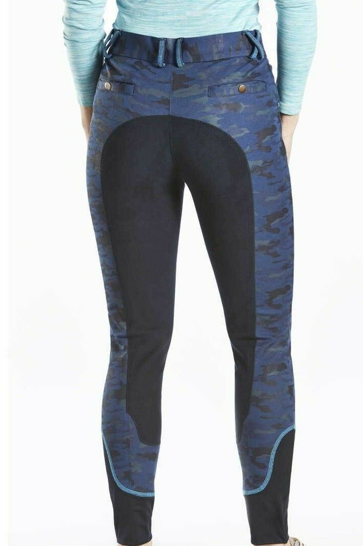 NEW  TOTTIE NAVY CAMO  FAUX SUEDE FULL SEAT JEAN BREECHES LADIES SIZE 6  22R