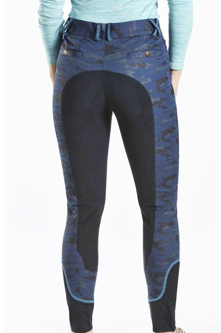 NEW   TOTTIE NAVY CAMO  FAUX SUEDE FULL SEAT JEAN BREECHES LADIES SIZE 6  22R  online at best price