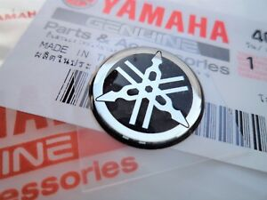Genuine Yamaha 30mm Logo Emblem Tank Gel Sticker Black Silver Uk Stock Ebay