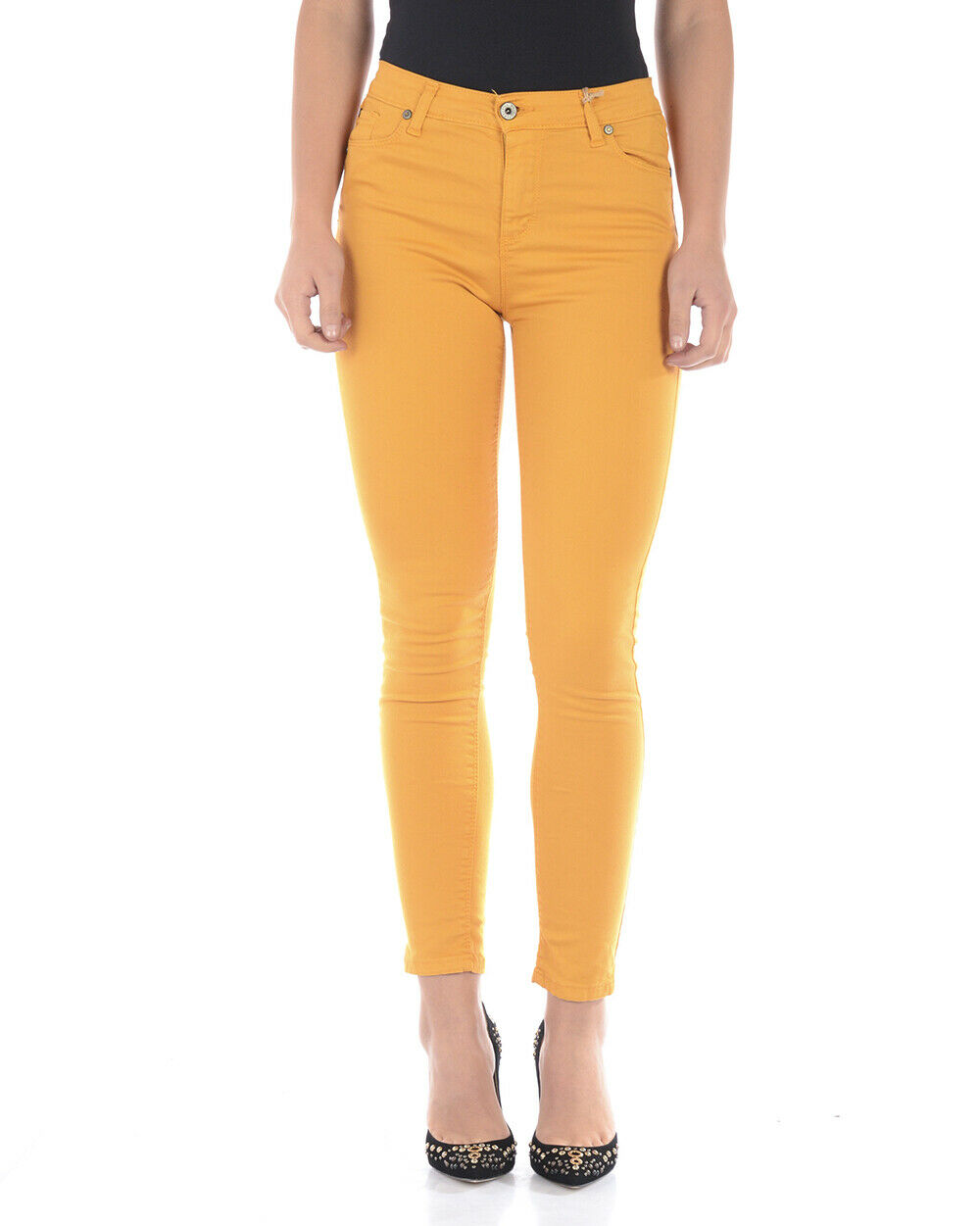 Please Jeans Cotton MADE IN ITALY Woman Yellow P78LEG5M07 Sz.S MAKE OFFER