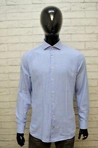 Camicia-Uomo-JOOP-Taglia-41-Collo-16-L-Maglia-Polo-Manica-Lunga-Quadri-Blu-Slim