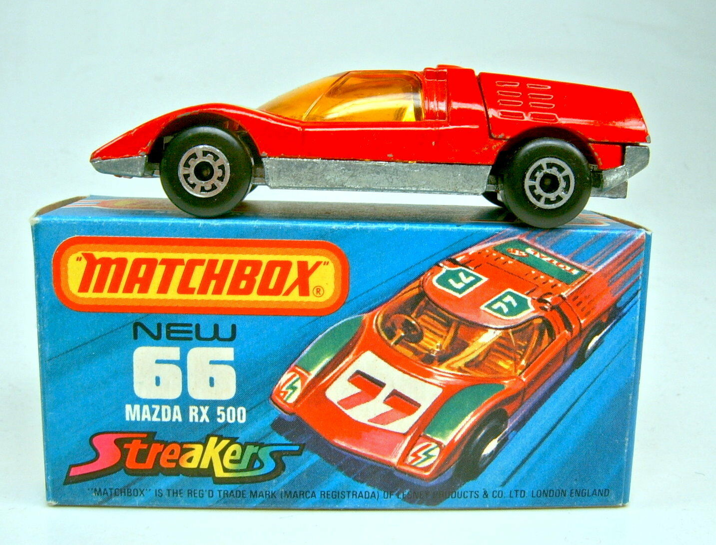 Matchbox SF No 66b Mazda rx500 Red  Streaker  Rare Unpainted Base Plate