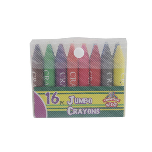 16 pk Jumbo Wax Crayons Coloured Colours Extra Large Size Sized