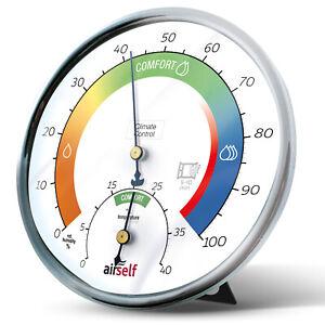 Thermohygrometer, Feuchtigkeitsmesser als Schimmelwächter für Innen, analog/weiß