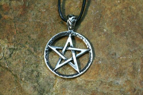 Set Anhänger Pentagramm Silber Lederband Amulett Sterlingsilber Magie