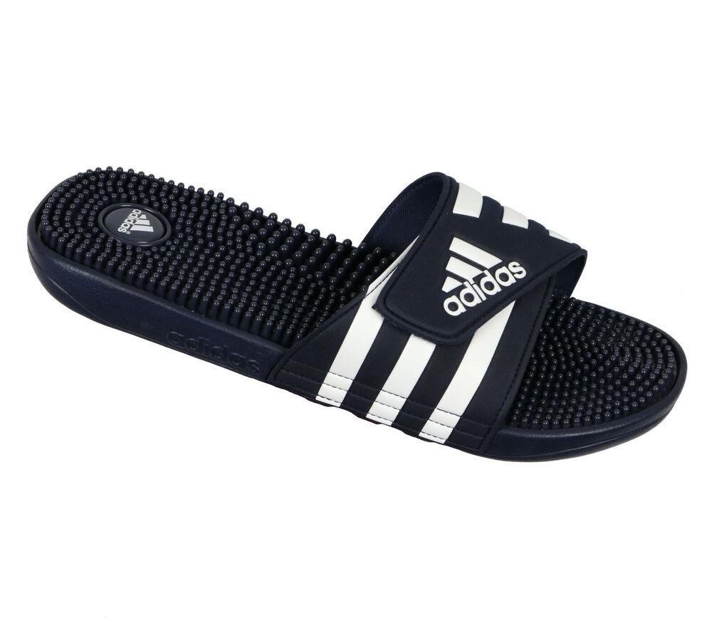 Adidas Adissage Sandales Anneau Sz 12 Bleu Marine Blanc Massage Récupération