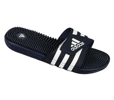 ADIDAS Adissage Slide Sandals sz 12 Navy Blue White Massage Recovery | eBay