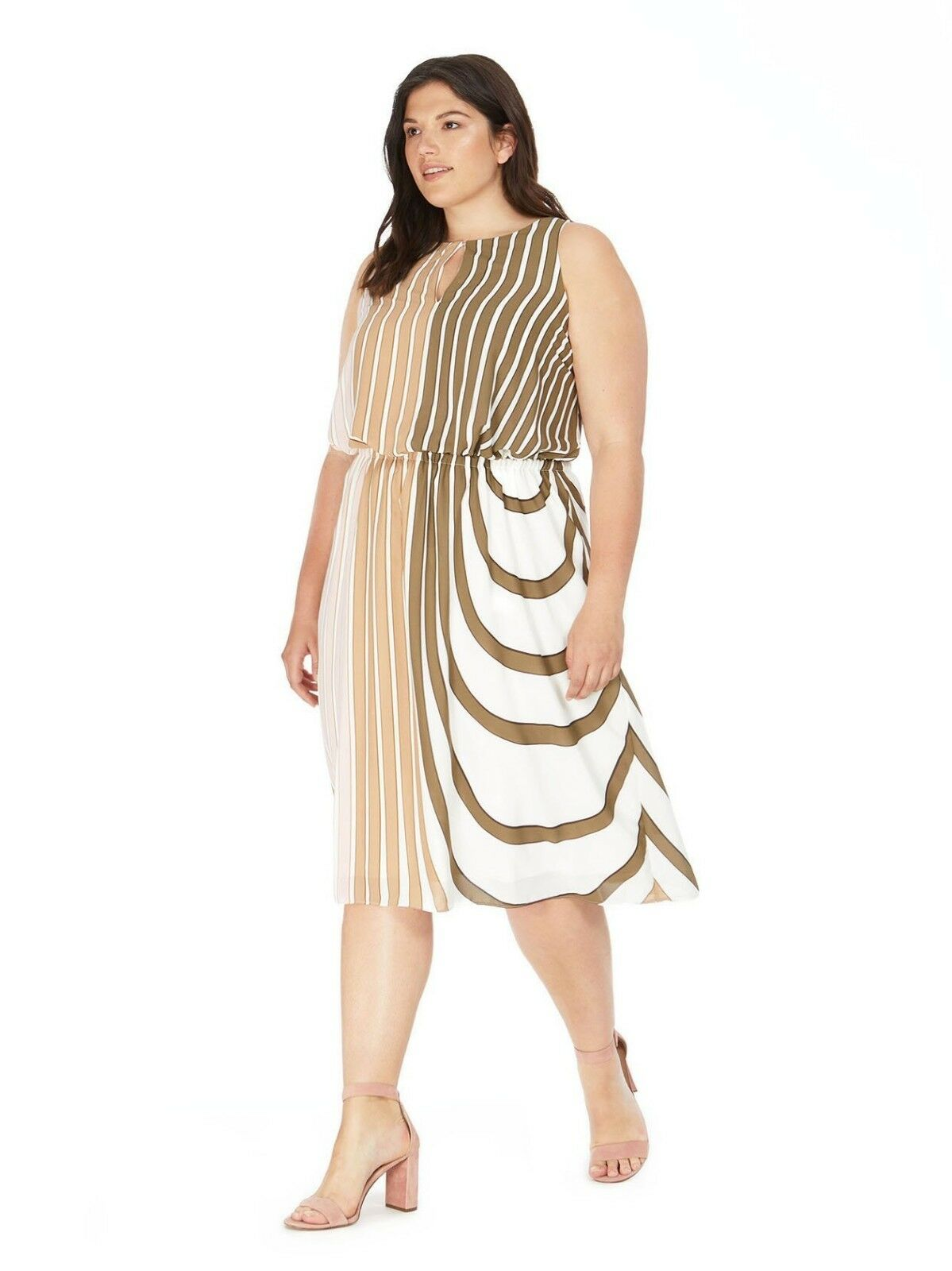 New ADRIANNA PAPELL for lane bryant striped midi dress SPRING CLASSIC   24