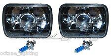 7X6 Black / Chrome Projector Halogen Crystal Glass Headlamp H4 Light Bulbs Pair