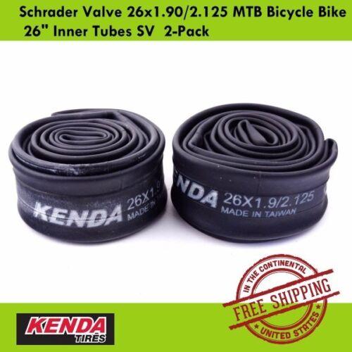 "Kenda Schrader Valve 26x1.90//2.125 MTB Bicycle Bike 26/"" Inner Tubes SV  2-Pack"