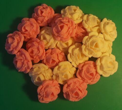 24 Comestible Grand Bébé Rose /& Ivoire Roses Fleurs Cupcake Gâteau Toppers mariages