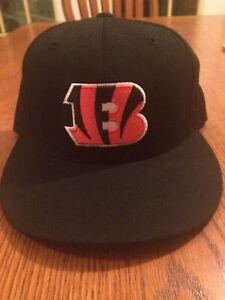 a7e0c6e7d Cincinnati Bengals NFL Reebok Black Hat Cap Orange Flat Bill Fitted ...