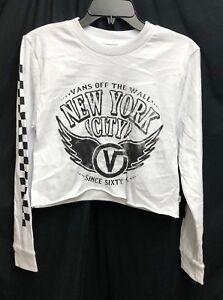 IRR Vans Checker White Cropped Long Sleeve T-Shirt New York City XS ... bb881dcc8