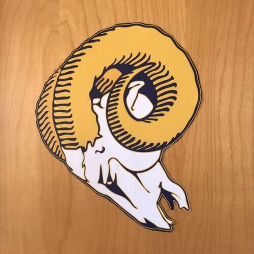 L.A NFL FREE SHIPPING Rams Head Vintage Horns Adhesive Sticker Rams pride