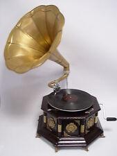 GRAMMOFONO TONDO LEGNO VINTAGE Gramophone antico-stile con due lastre di gomma lacca