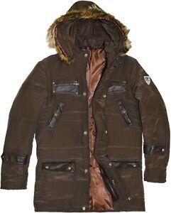 tedesco cucita pelle striscia marrone di Abbigliamento da uomo con pelliccia sintetica in invernale giacca Bnqwdz