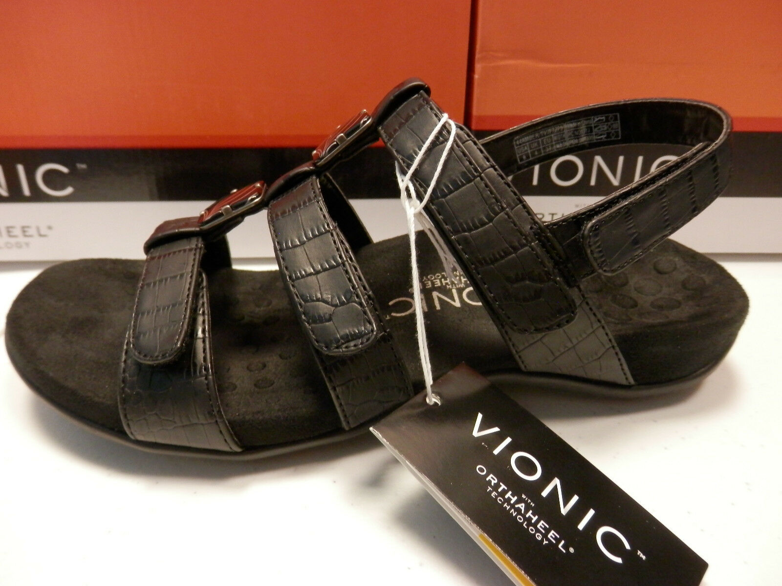 VIONIC WOMENS SANDALS AMBER BLACK CROC SIZE 7