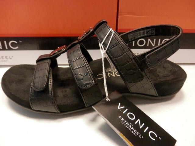 fa8f4854fff9 Vionic Women Orthopedic Fit Strappy Sandal Rest Amber 7 Black Crocodile