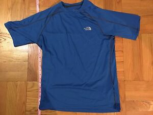 f602ec9a5 Details about Men's The North Face Athletic Running Shirt Size Mens S Blue  Flash Dry