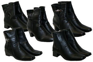 LADIES-BLACK-EVERYDAY-CASUAL-ANKLE-BOOTS-IN-5-STYLES-WITH-SIDE-ZIP-SIZES-3-8