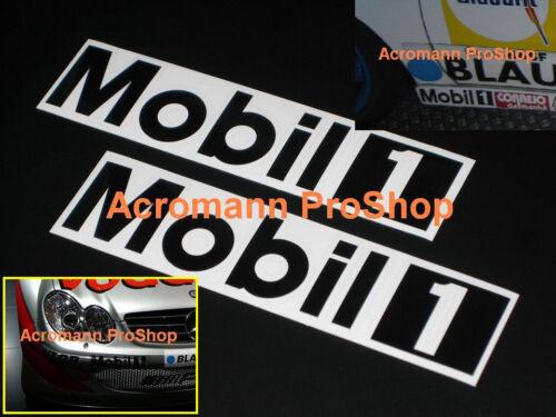 "2x 8.5/"" 21.6cm MOBIL One white decal sticker 1 motor oil DTM porsche vw car audi"