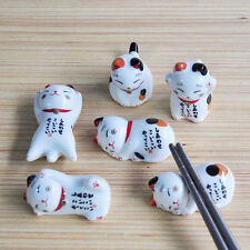 Japanese Ceramic Lucky Fortune Cat Chopsticks Rest Holder Kitchen Cutlery Stand