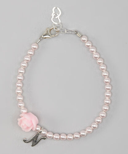 Personalized Sterling Silver Script Initial Bracelet with Swarovski Pink Pearls